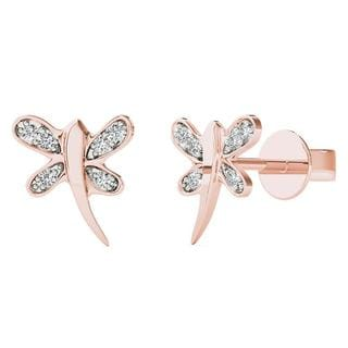 AALILLY 10k Rose Gold Diamond Accent Dragonfly Stud Earrings