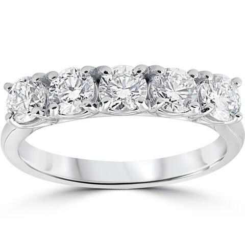 14k White Gold 1 1/4 ct TDW 5-stone Diamond Eco Friendly Lab Grown Wedding Ring