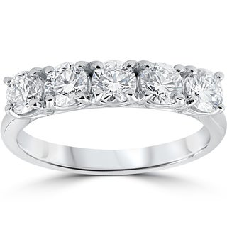 14k White Gold 1 1/4 ct TDW 5-stone Diamond Eco Friendly Lab Grown Wedding Ring (F-G,VS2-SI1)