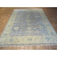 Turkish Oushak Blue Wool Hand-knotted Oriental Rug (9'x12')