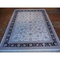 Kashan Oriental Ivory Kashan Wool Area Rug - 9 x 12