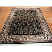 Hand-knotted Green Sarouk with Wool Oriental Rug (9'1x11'11)