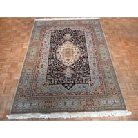 Tabriz Navy Wool Hand-knotted Oriental Rug - 7'x10'