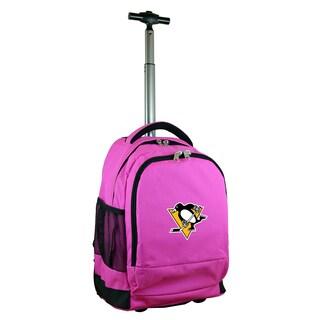 Denco Sports Mojo Pittsburgh Penguins Premium Pink Nylon Wheeled Backpack