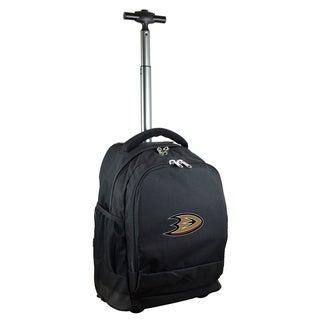 Denco Sports Mojo Anaheim Mighty Ducks Premium Black Wheeled Backpack