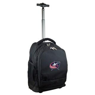 Denco Sports Mojo Columbus Blue Jackets Black Nylon and Denim Wheeled Backpack