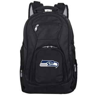 Denco Sports Mojo Seattle Seahawks Premium Black Denim and Nylon 19-inch Laptop Backpack