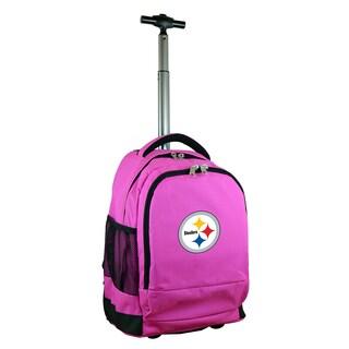 Denco Sports Mojo Pittsburgh Steelers Premium Pink Nylon Wheeled Backpack