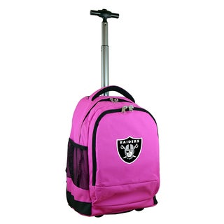 Denco Sports Mojo Oakland Raiders Premium Pink Nylon Wheeled Backpack