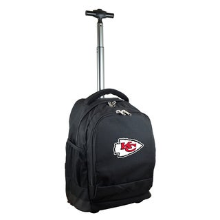 Denco Sports Mojo Kansas City Chiefs Black Nylon and Denim Premium Wheeled Backpack