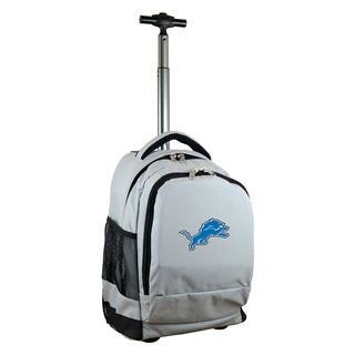 Denco Sports Mojo Detroit Lions Grey Ballistic Nylon and Denim Premium Wheeled Backpack