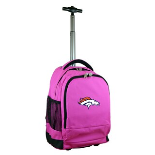 Denco Sports Mojo Denver Broncos Premium Pink Ballistic Nylon 17-inch Wheeled Laptop Backpack