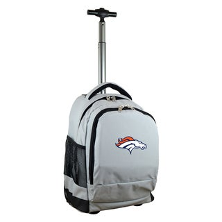 Denco Sports Mojo Denver Broncos Premium Grey Nylon and Denim Wheeled Backpack