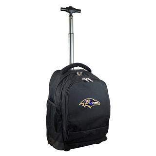 Denco Sports Mojo Baltimore Ravens Black Nylon and Denim Wheeled Backpack