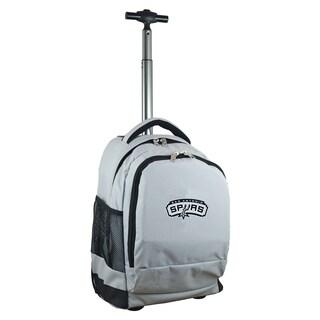 Denco Sports Mojo San Antonio Spurs Premium Grey Ballistic Nylon 17-inch Wheeled Laptop Backpack