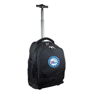 Denco Sports Mojo Philadelphia 76ers Premium Black Nylon and Denim Wheeled Backpack