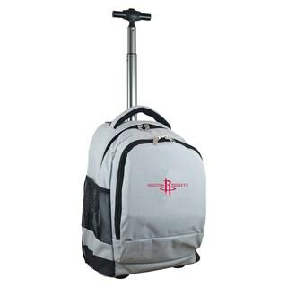 Denco Sports Mojo Houston Rockets Premium Grey ballistic Nylon Wheeled Laptop Backpack