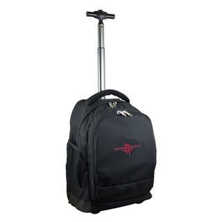 Denco Sports Mojo Houston Rockets Black Premium Wheeled Backpack