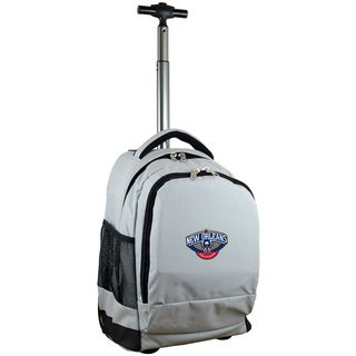Denco Sports Mojo New Orleans Pelicans Premium Grey Nylon Wheeled Backpack