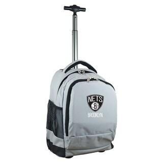 Denco Sports Mojo Brooklyn Nets Premium Grey ballistic Nylon 17-inch Wheeled Laptop Backpack