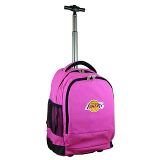 Denco Sports Mojo Los Angeles Lakers Pink Ballistic Nylon and Denim Premium Wheeled Backpack