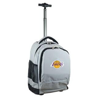 Denco Sports Mojo Los Angeles Lakers Grey Nylon and Denim Wheeled Backpack