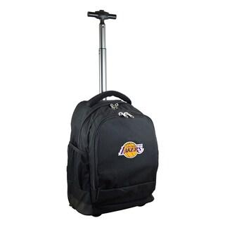 Denco Sports Mojo Los Angeles Lakers Black Nylon/Denim Premium Wheeled Backpack