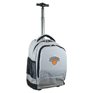 Denco Sports Mojo New York Knicks Grey Premium Wheeled Backpack