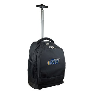 Denco Sports Mojo Utah Jazz Premium Black Ballistic Nylon 17-inch Wheeled Laptop Backpack