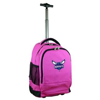 Denco Sports Mojo Charlotte Hornets Pink Nylon Wheeled Backpack