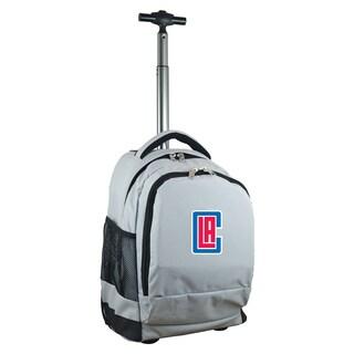 Denco Sports Mojo Los Angeles Clippers Grey Nylon/Denim Wheeled Backpack