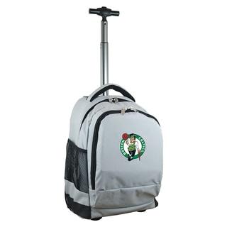 Denco Sports Mojo Boston Celtics Grey Nylon and Denim Premium Wheeled Backpack