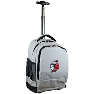 Denco Sports Mojo Portland Trail Blazers Grey Nylon and Denim Wheeled Backpack