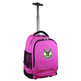 Denco Sports Mojo Milwaukee Bucks Pink Ballistic Nylon/Nylon/Denim Premium Wheeled Backpack