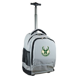 Denco Sports Mojo Milwaukee Bucks Premium Grey Wheeled Backpack