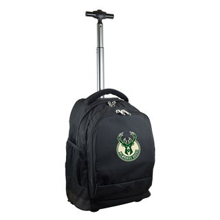 Denco Sports Mojo Milwaukee Bucks Black Ballistic Nylon and Denim Premium Wheeled Backpack