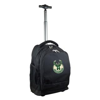 Denco Sports Mojo Milwaukee Bucks Black Ballistic Nylon and Denim Premium Wheeled Backpack