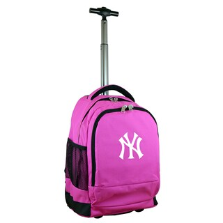 Denco Mojo New York Yankees Nylon Blend Premium Pink Wheeled Backpack