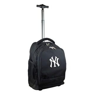 Denco SportsMojo New York Yankees Premium Black Nylon and Denim Wheeled Backpack