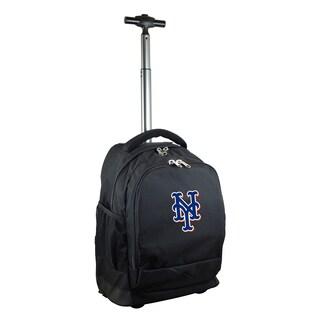 Denco Sports Mojo New York Mets Premium Black Wheeled Backpack