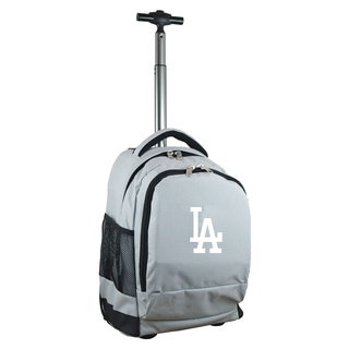 Denco Sports Mojo Los Angeles Dodgers Grey Nylon and Denim Wheeled Backpack