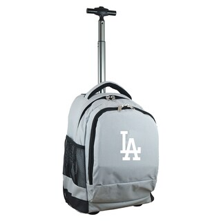 Denco Sports Mojo Los Angeles Dodgers Grey Nylon and Denim Wheeled Backpack