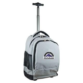 Denco Sports Mojo Colorado Rockies Grey Ballistic Nylon and Denim Premium Wheeled Backpack