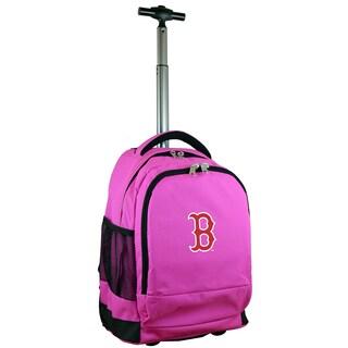 Denco Sports Mojo Boston Red Sox Premium Pink Ballistic Nylon 17-inch Wheeled Laptop Backpack