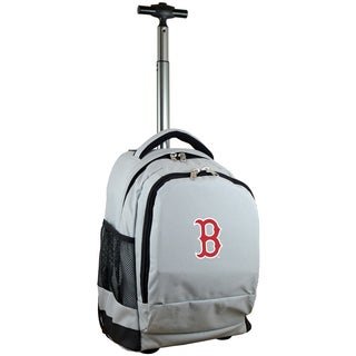 Denco Sports Mojo Boston Red Sox Premium Grey Ballistic Nylon Wheeled Laptop Backpack