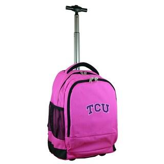 Denco Sports Mojo Texas Christian Premium Pink Wheeled Backpack