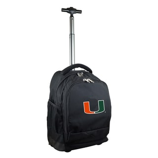 Denco Sports Mojo Miami Premium Black Ballistic Nylon 17-inch Wheeled Laptop Backpack