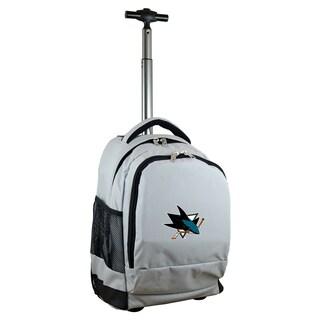 Denco Sports Mojo San Jose Sharks Premium Grey Wheeled Backpack