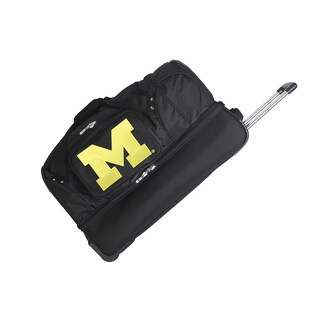 Denco Sports Michigan Black Nylon and Polyester 27-inch Rolling Drop-bottom Duffel Bag