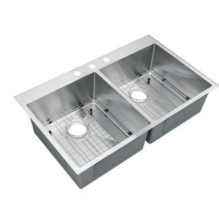 Starstar Stainless Steel Top-mount Drop-in 50/50 Double Bowl Kitchen Sink